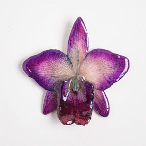 Real flower jewelry medium Cattleya pendant in purple color