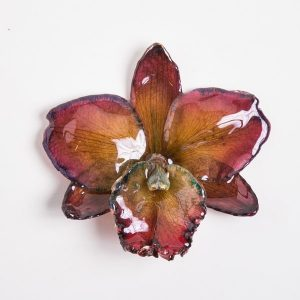 Real flower jewelry medium Cattleya pendant in plum color