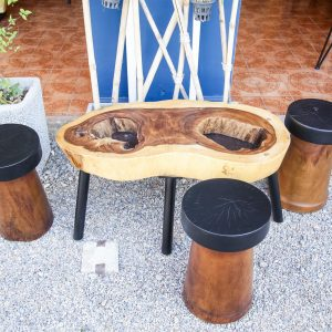 Set suar wood Coffee Table and Stools