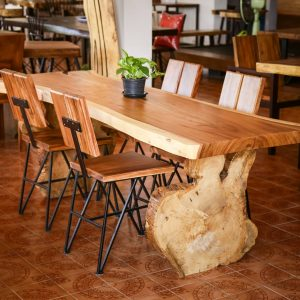Thailand handicraft wholesale set suar wood dining table and chairs