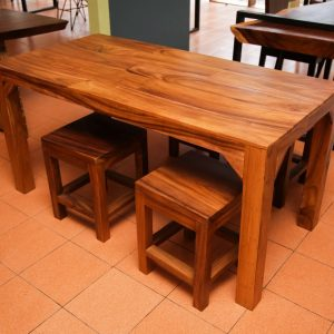 suar wood dining table and chairs