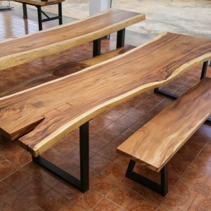 Large suar wood dinning table and bench