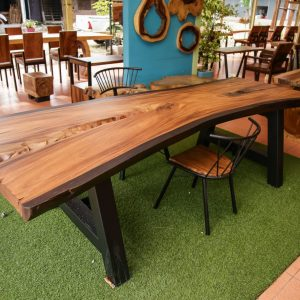 Large suar wood dining table and chairs