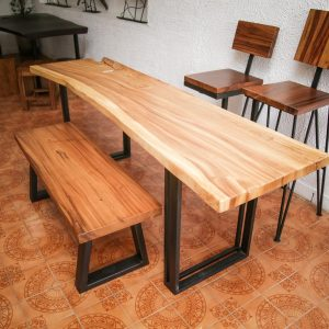 suar wood dining table and bench