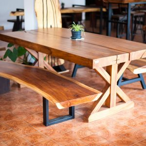 set suar wood dining table and bench