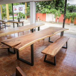Thailand handicrafts Wholesale Large suar wood dinning table and bench