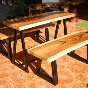 Thailand handicrafts Wholesale set suar wood dining table and bench