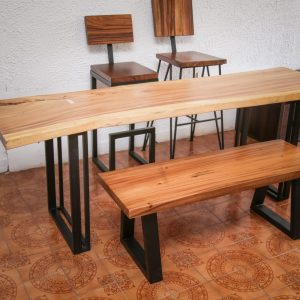 Thailand handicrafts Wholesale suar wood dinning table and bench