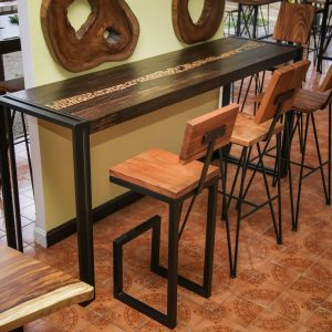 Thailand handicarft wholesale Suar wood sofa table and bar chairs