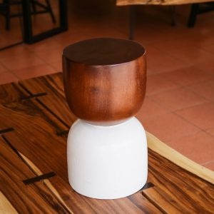 Suar wood stool with dark andd white color