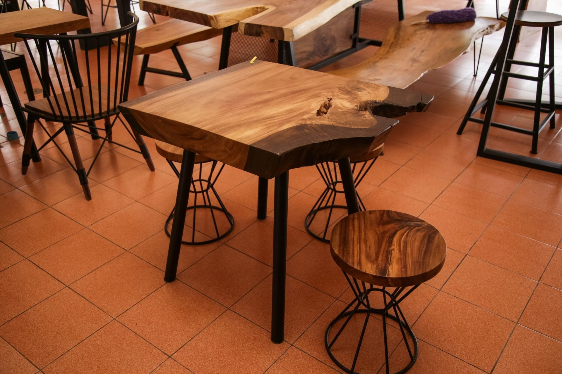 suar wood table and stools