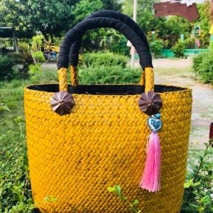 Thailand handicrafts Wholesale Bamboo Handbag in yellow color