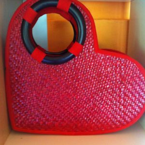 Chiang Mai handicrafts Wholesale Bamboo Handbag with heart design in red color