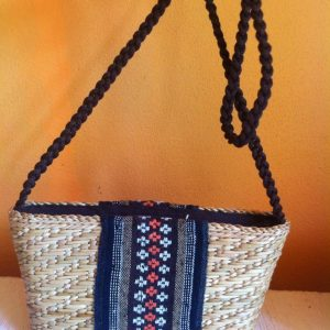 Thailand handicrafts Wholesale Bamboo Handbag with Thai definition design in blue color