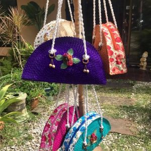 Chiang Mai handicrafts Wholesale Bamboo Handbag with flower pattern