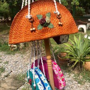 Thailand handicrafts Wholesale Rattan handbag with flower pattern in orange color
