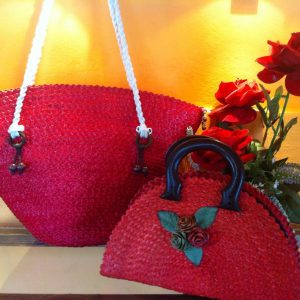Thailand handicrafts Wholesale Bamboo Handbag with floral design in red color