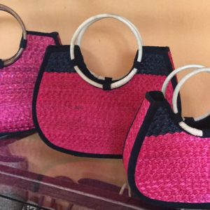 Chiang Mai handicrafts Wholesale Wicker handbag in pink color