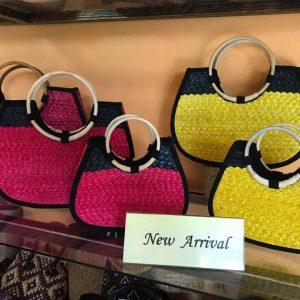 Chiang Mai handicrafts Wholesale Wicker handbag in yellow color