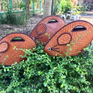 Thailand handicrafts Wholesale Rattan handbag with rat design