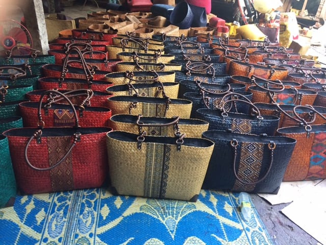 Bamboo handbag wholesale with Thai definition design