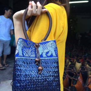 Blue bulrush handbag wholesale with elephant pattern