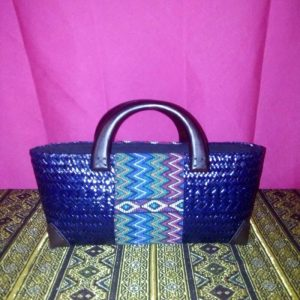 Bฺlue rattan handbag wholesale with Thai definition design