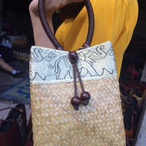 bulrush handbag wholesale with elephant pattern