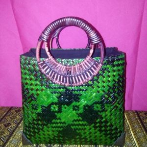 Green rattan handbag wholesale with Checkered pattern