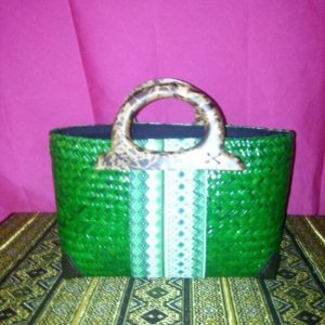 Green rattan handbag wholesale with Thai definition pattern