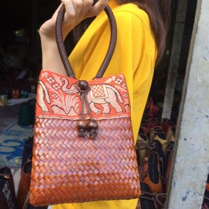 orange bulrush handbag wholesale with elephant pattern