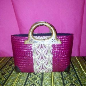 pink rattan handbag wholesale with Thai definition pattern