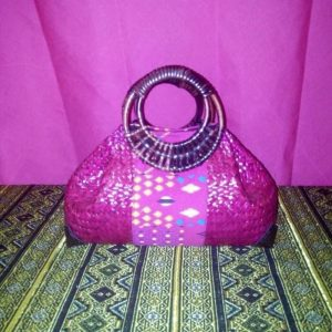 Wholesale pink wicker handbag with Thai pattern