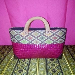 Pink wicker handbag wholesale with Thai design
