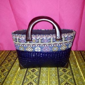 Purple wicker handbag wholesale with Thai design