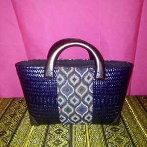 Purple wicker handbag wholesale with Thai pattern