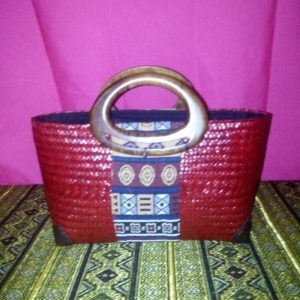 Red rattan handbag wholesale with Thai definition pattern