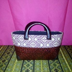 Red wicker handbag wholesale with Thai pattern
