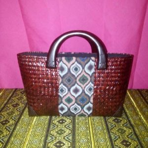 Wicker handbag wholesale with Thai pattern