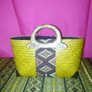 Yellow rattan handbag wholesale with Thai definition pattern