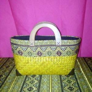 Yellow wicker handbag wholesale with Thai pattern