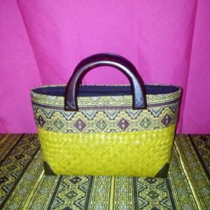 Wholesale yellow wicker handbag with Thai pattern