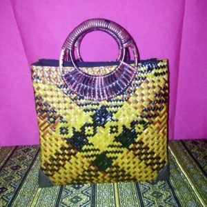 yellow wicker handbag wholesale with Checkered pattern