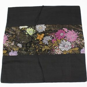 Thai cushion cover in black color with flower pattern