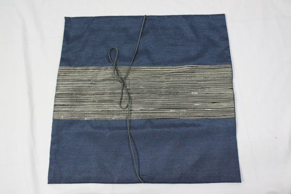 Thai cushion cover in prussian blue color with gray stripes