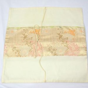Thai cushion cover in champagne color with floral design