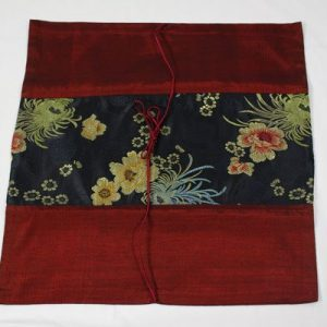 Thai pillow cover in maroon color with floral design