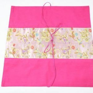 Thai pillow cover in pink color with floral design