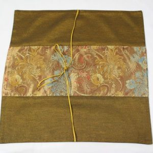 Thai pillow cover in golden color with floral pattern