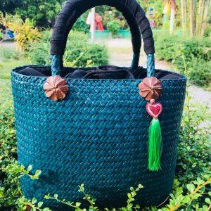 Thailand handicrafts Wholesale Bamboo Handbag in blue color
